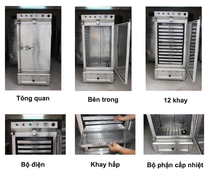 Đặc điểm của tủ hấp cơm công nghiệp 12 khay Trung Quốc
